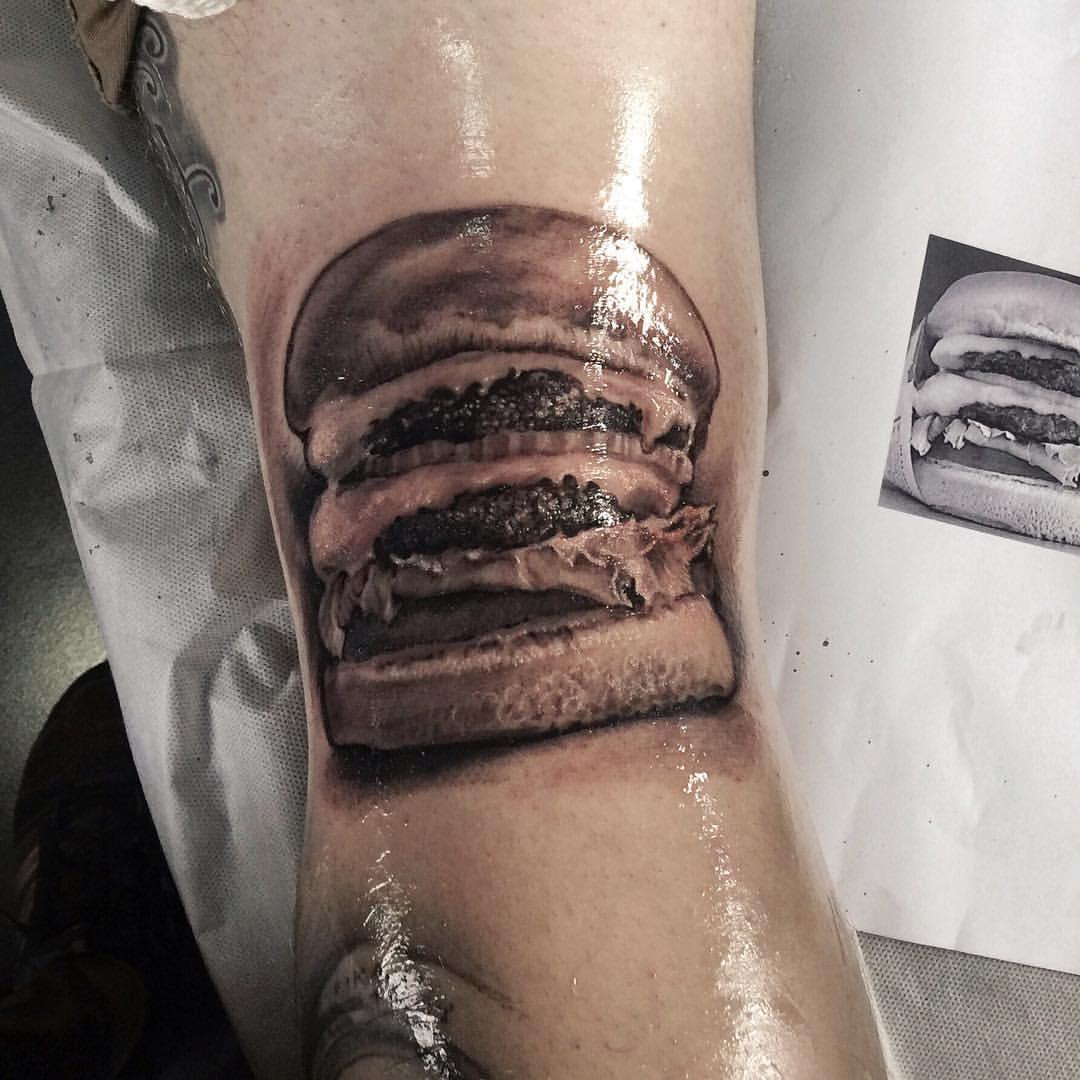 zhuo dan ting tattoo work 卓丹婷纹身作品汉堡纹身 1