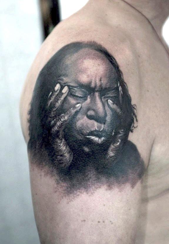 zhuo dan ting tattoo work 卓丹婷纹身作品肖像写实 1