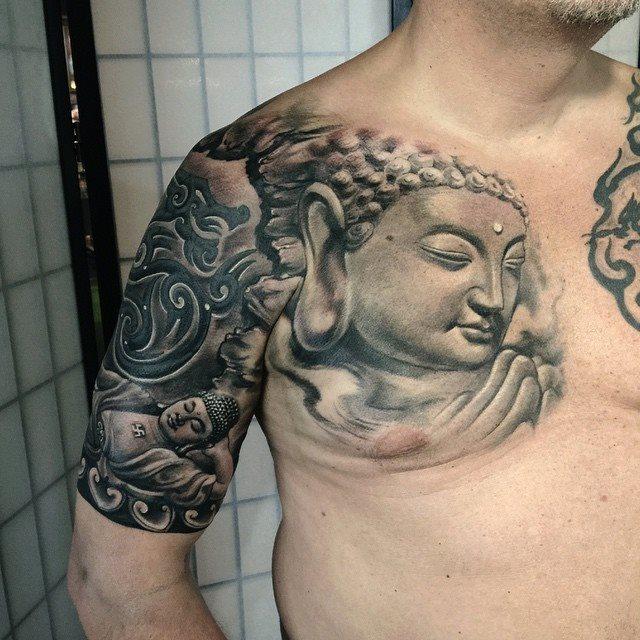 zhuo dan ting tattoo work 卓丹婷纹身作品 半胛佛纹身 1