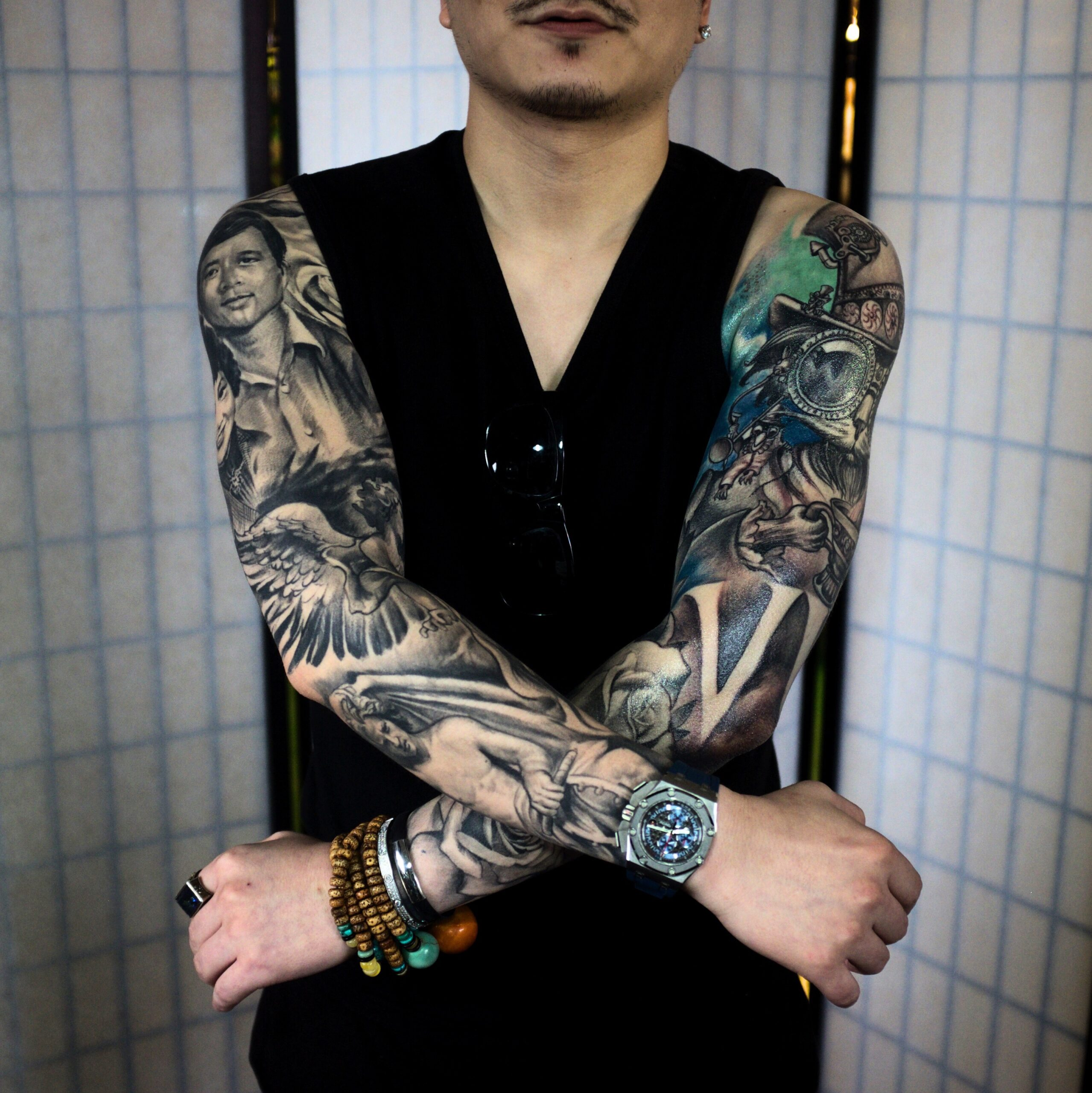 zhuo dan ting tattoo work 卓丹婷纹身作品 双花臂酷纹身 1