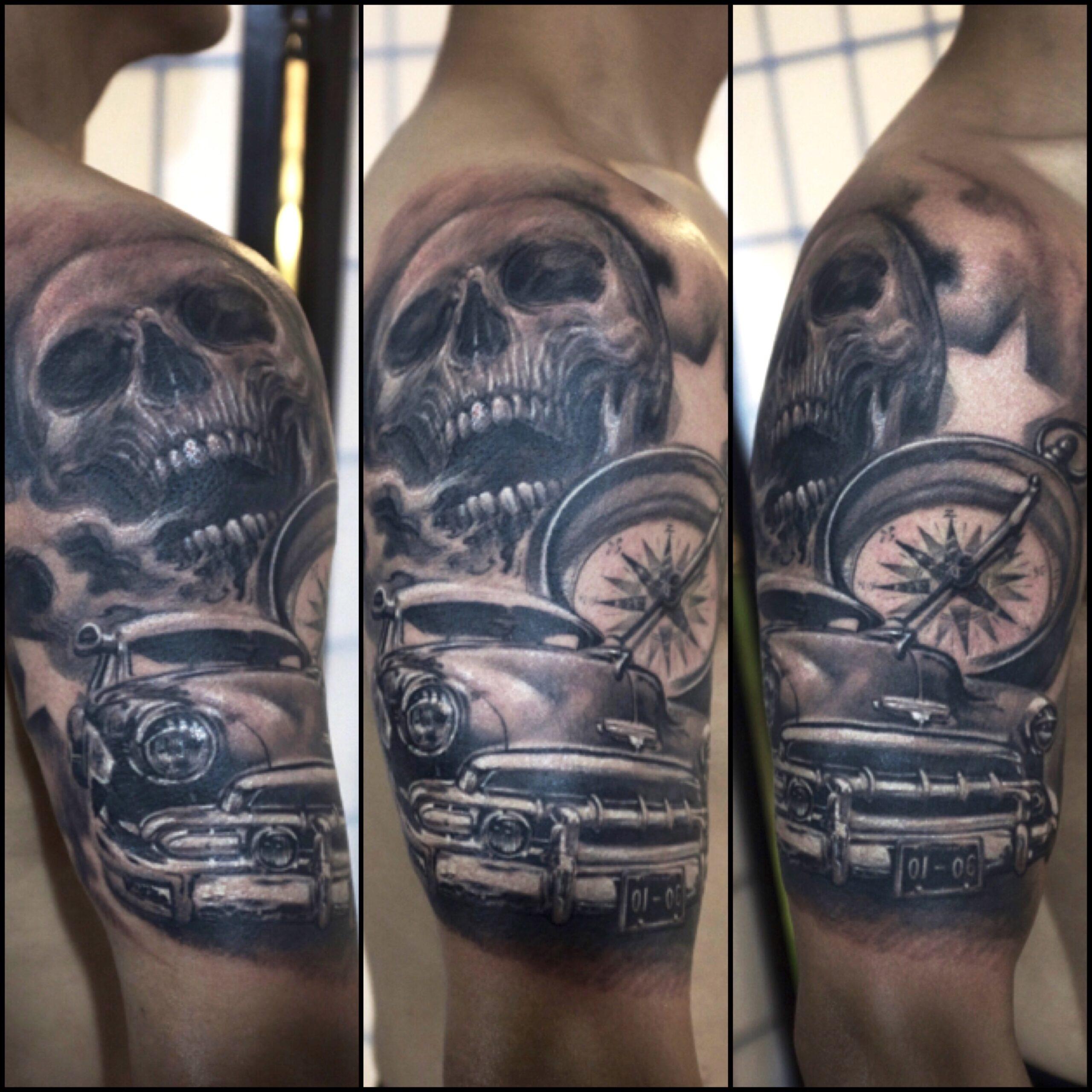 zhuo dan ting tattoo work 卓丹婷纹身作品 机车骷髅指南针纹身 1