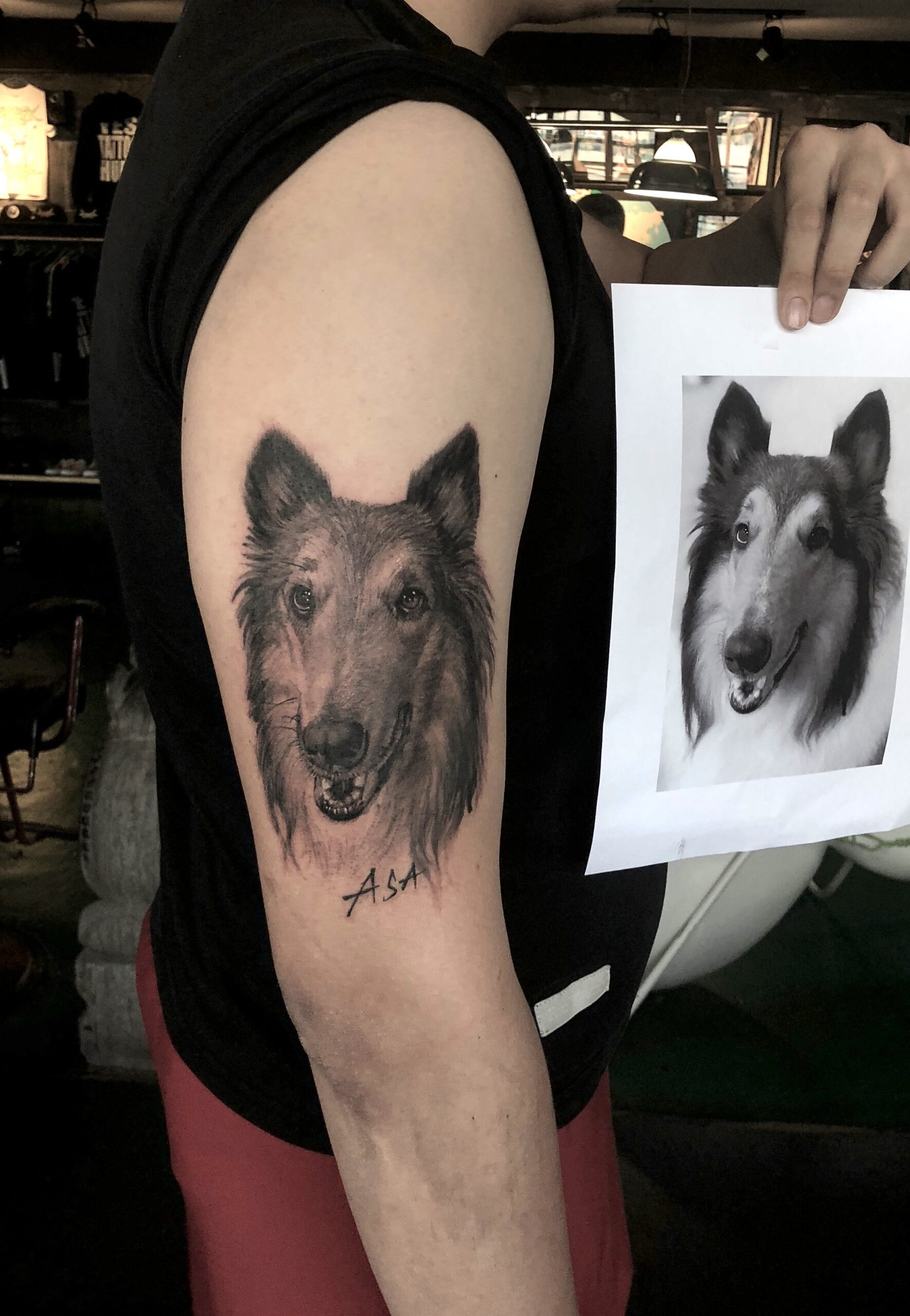 zhuo dan ting tattoo work 卓丹婷纹身作品 狗肖像纹身黑白 1