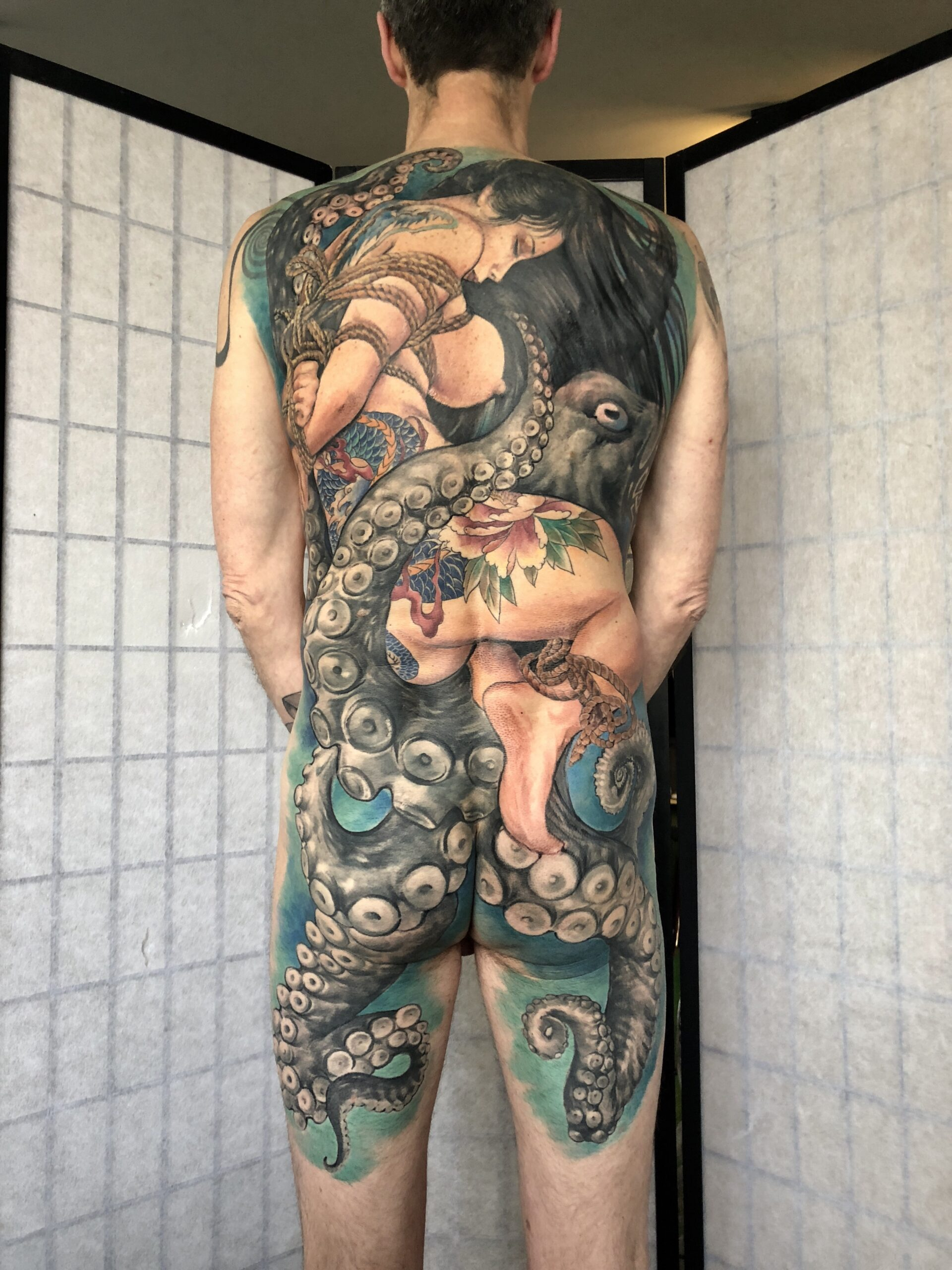 zhuo dan ting tattoo work 卓丹婷纹身作品 full back geisha 1