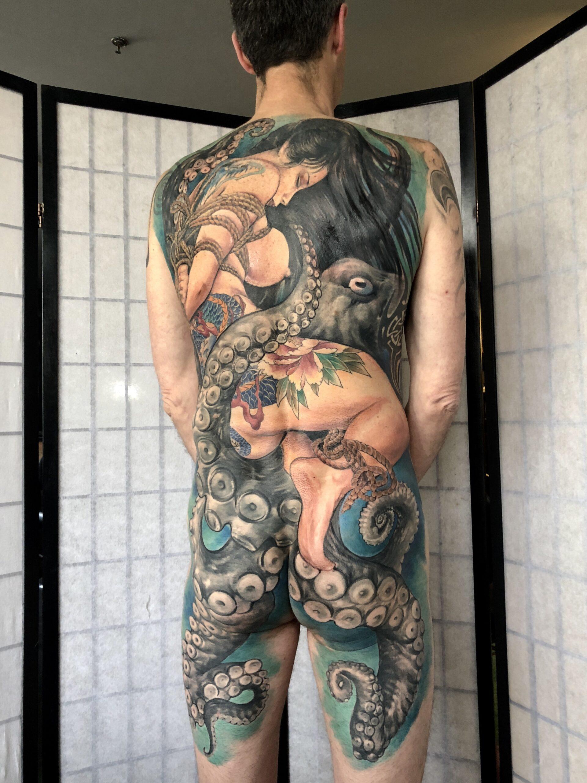 zhuo dan ting tattoo work 卓丹婷纹身作品 full back geisha tattoo 2