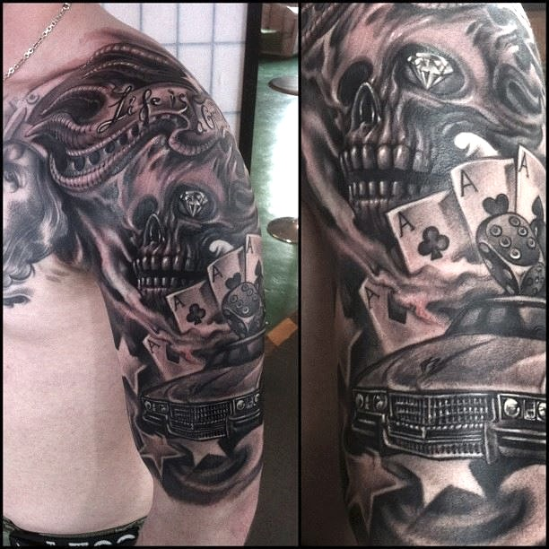 zhuo dan ting tattoo work car skull tattoo卓丹婷纹身 1