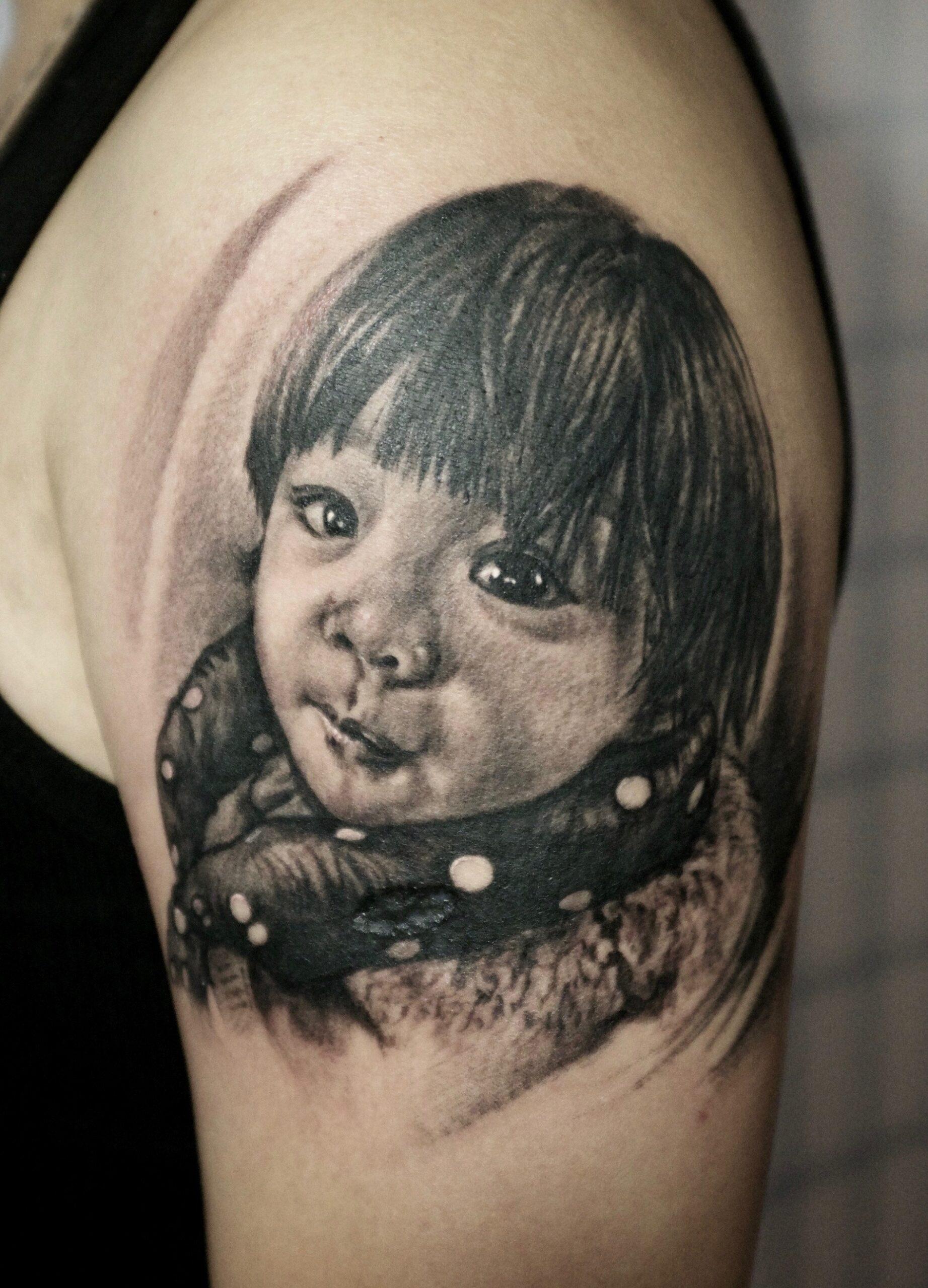 zhuo dan ting tattoo work kid portrait tattoo 1
